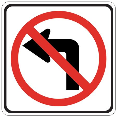 No Left Turn (Graphic)  Engineer Grade Reflective 24x24