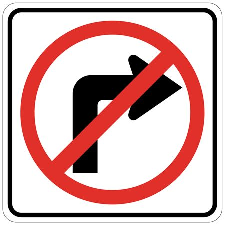 No Right Turn (Graphic) - Engineer Grade Reflective 24x24 24 x 24