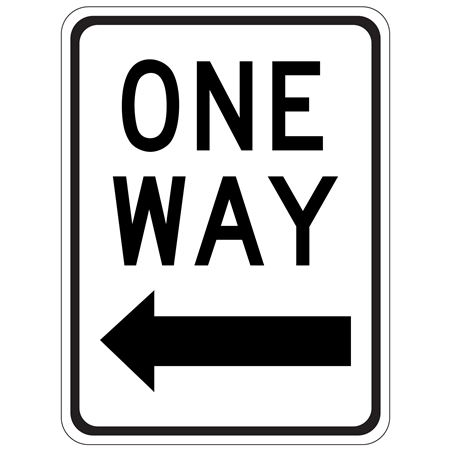 One Way (Left Arrow) - High Intensity Reflective 18 x 24