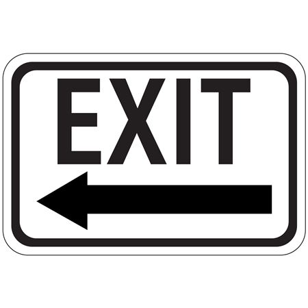 Exit Arrow - Left - Engineer Grade Reflective 12 x 18