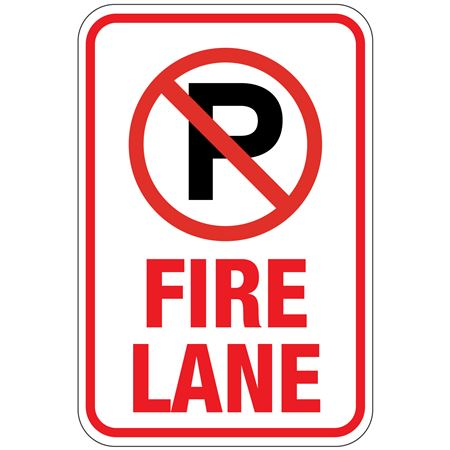 No Parking (Graphic) Fire Lane Sign 12 x 18