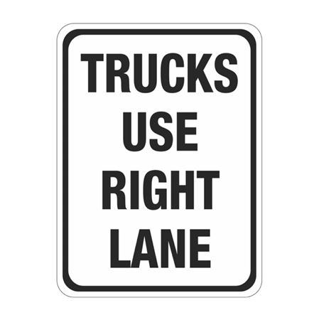 Trucks Use Right Lane Sign