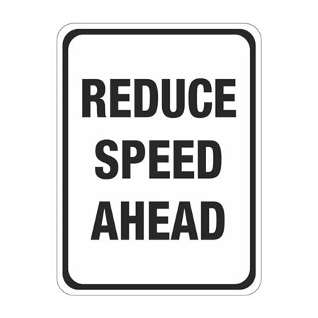 Reduce Speed Ahead Sign