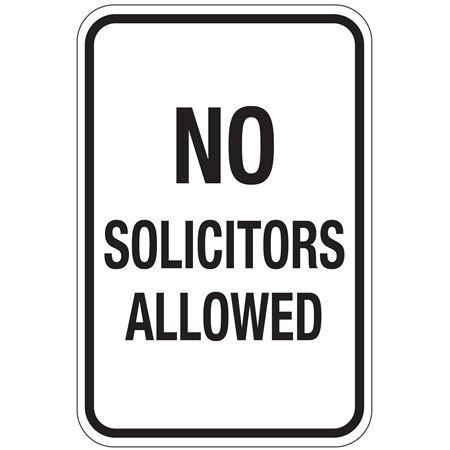 No Solicitors Allowed Sign 12x18
