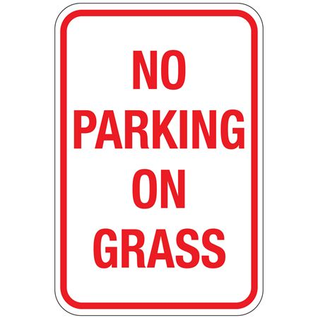 No Parking On Grass Sign 12x18