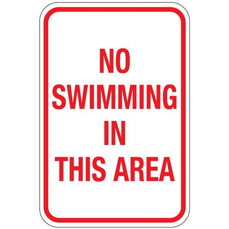 No Swimming In This Area Sign 12x18