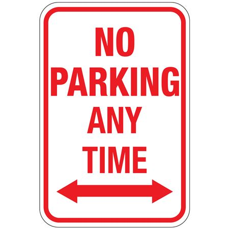 No Parking Any Time (Double Arrow Graphic) Sign 12 x 18
