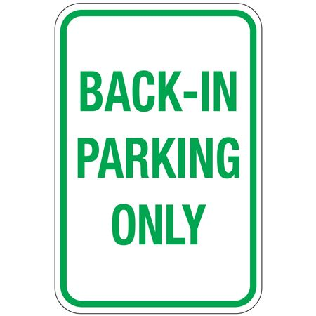 Back-In Parking Only Sign 12 x 18