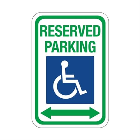 Reserved Parking with Symbol and Arrows Sign 12x18
