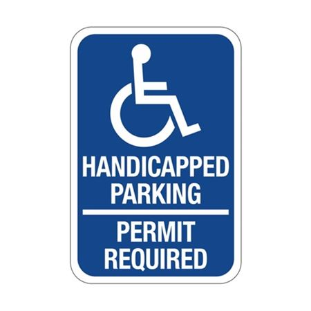 Handicapped Parking Permit Required  Symbol Sign 12x18