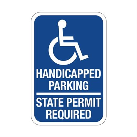 Handicapped Parking State Permit Required Symbol Sign 12x18