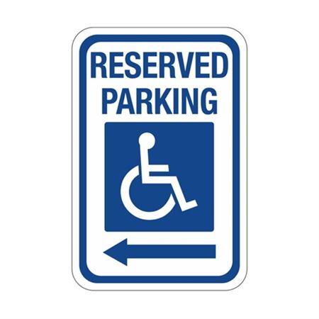Reserved Parking Left Arrow Symbol Sign 12 x 18