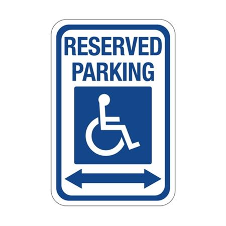 Reserved Parking Arrow Both Ways  Symbol Sign 12 x 18