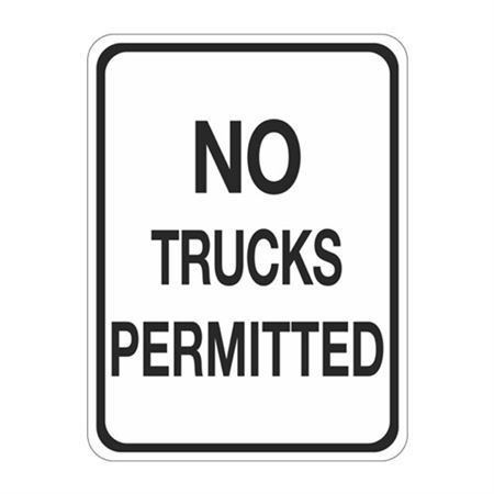 No Trucks Permitted Sign   18 x 24