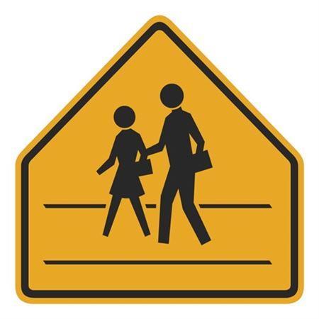 Pedestrians Crosswalk Pentagon Shape Sign 30 x 30