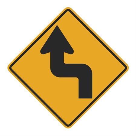 Left and Right Turns Ahead (Graphic) Sign 24 x 24