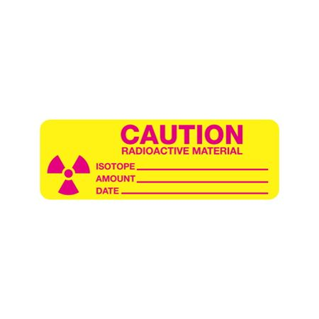 Radiation Markings - Caution Radioactive Material-Paperstock (500/roll) 1 x 3