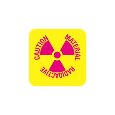 Radiation Markings - Caution Radioactive Material-Paperstock (500/roll) 1 x 1