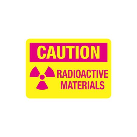 Radiation Markings - Caution Radioactive Materials-Vinyl w/Adhesive (25/pk) 3.5 x 5