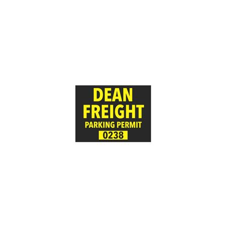CustomRearviewMirrorParkingPermits  Yellow Vinyl 1 1/2 x 2