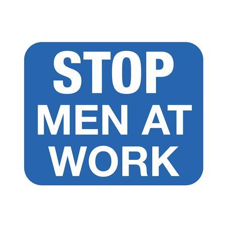 Railroad Sign System w/Clamp - STOP MEN AT WORK