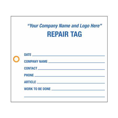 "Custom Repair Tag - 4.5"" x 4"""