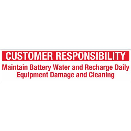 Customer Responsibility Decal - Large 12 x 3
