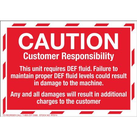 Service Decals - Caution Customer Responsibility - Pk/50