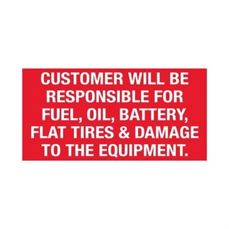 Customer Responsibility Decal - Small 2' X 4 Inch