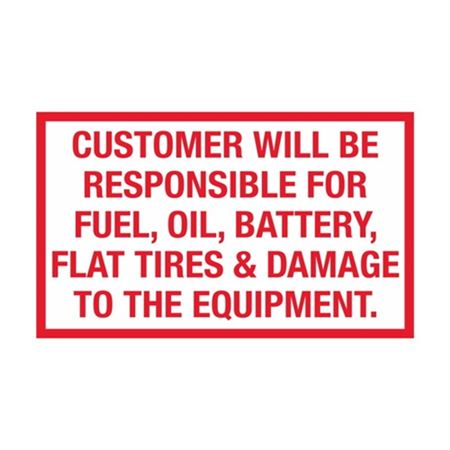 Customer Will Be Responsible Decal - 5 x 3