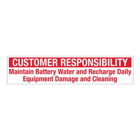 "Customer Responsibility Decal - Medium 2"" x 9"""