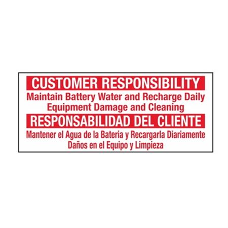 Customer Responsibility/Bilingual - 2 1/4 x 5 1/2