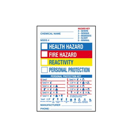 """Chemical Hazard Labels Roll 250 - 4 1/2"""" x 6 1/2"""""""