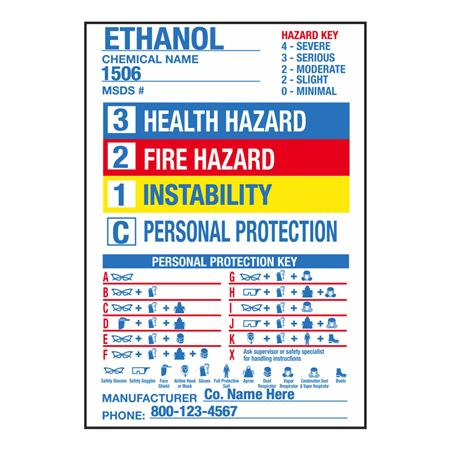 Chemical Hazard Labels - Preprinted Roll/250 - 4 1/2 x 6 1/2