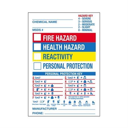 "Blank Chemical Hazard Label - Pre-Printed- 7"" x 10"" 7 x 10"
