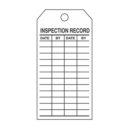 Single-Sided Inspection Tags - Inspection Record - White Vinyl 3.125 x 5.625
