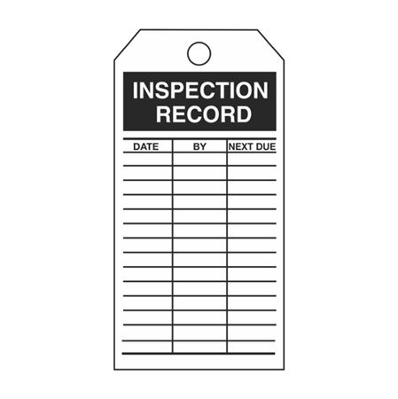 Single-Sided Inspection Tags - Inspection Record - Black Vinyl 3.125 x 5.625