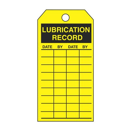 Single-Sided Inspection Tags - Lubrication Record - Yellow Vinyl 3.125 x 5.625