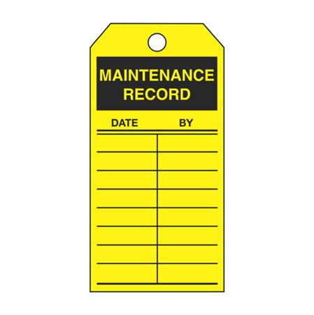Single-Sided Inspection Tags - Maintenance Record - Yellow Vinyl 3.125 x 5.625