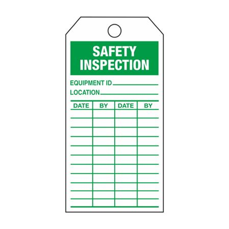 Single-Sided Inspection Tags - Safety Inspection - Green Vinyl 3.125 x 5.625