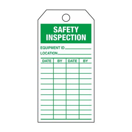Safety Inspection - Green Rigid Vinyl Tag - 3 1/8 x 5 5/8