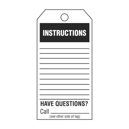 Single-Sided Inspection Tags - Instructions - Black Vinyl 3.125 x 5.625