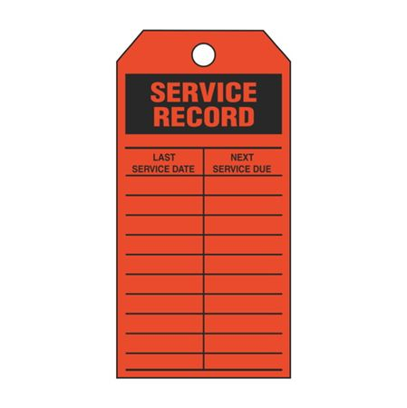Single-Sided Inspection Tags - Service Record - Orange Vinyl 3.125 x 5.625