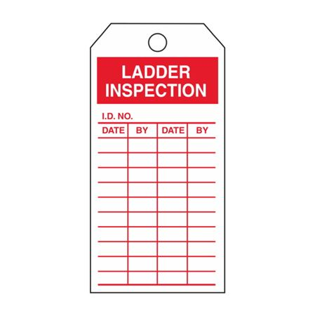 Single-Sided Inspection Tags - Ladder Inspection - Red Vinyl 3.125 x 5.625