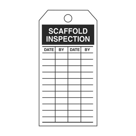 Single-Sided Inspection Tags - Scaffold Inspection - Black Vinyl 3.125 x 5.625