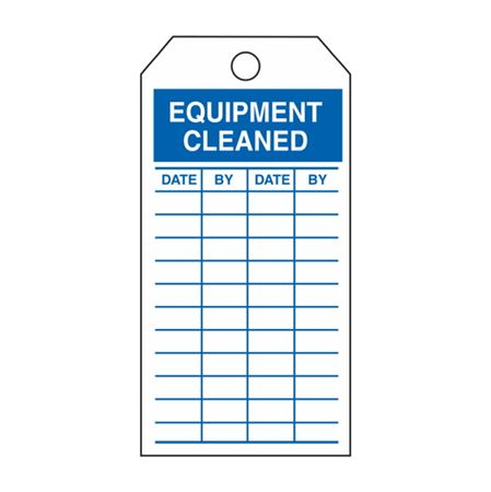 Single-Sided Inspection Tags - Equipment Cleaned - Blue Vinyl 3.125 x 5.625