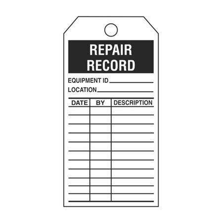 Single-Sided Inspection Tags - Repair Record - Black Vinyl 3.125 x 5.625