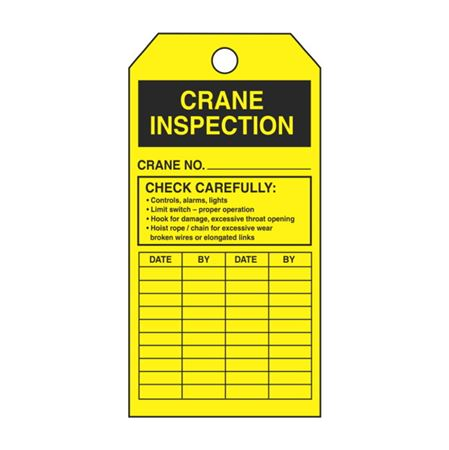 Single-Sided Crane Inspection Vinyl Tags - 3 1/8 x 5 5/8