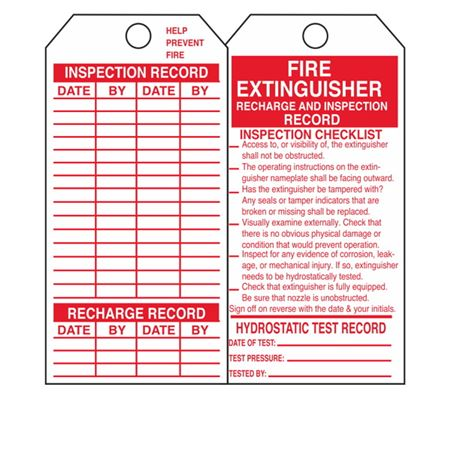 Dual-Sided Tags - Fire Extinguisher Record - Vinyl 3.125 x 5.625