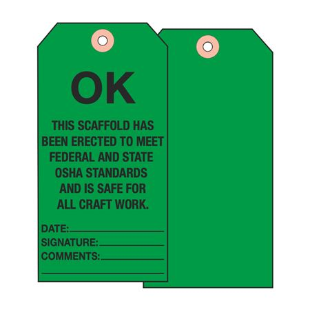 Scaffold Tags - OK This Scaffold/Date/Signature/Comments - Cardstock 2 7/8 x 5 3/4